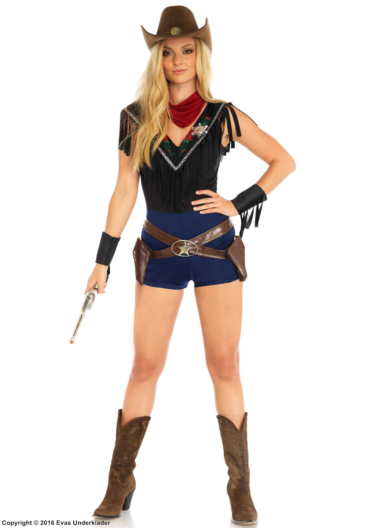 Vilda väster-kostym med sheriff-detaljer, maskeraddräkt